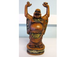 Wooden Chinese Buddha Holding Pearl of Wisdom and Ingot