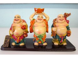 Trio of Chinese Lucky Happy Laughing Buddhas