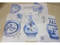 Chinese New Year Greeting Card Blue and White Porcelain