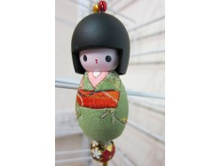 Large Japanese Style Kokeshi Doll Keyring Green