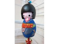 Large Japanese Style Kokeshi Doll Keyring Blue