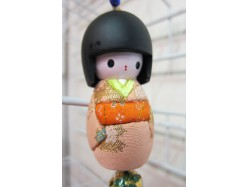 Large Japanese Style Kokeshi Doll Keyring Peach