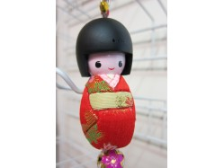 Large Japanese Style Kokeshi Doll Keyring Red