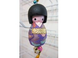 Large Japanese Style Kokeshi Doll Keyring Purple