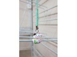 Lucky Cat Bag Charm Green Bamboo