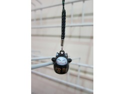 Lucky Cat Bag Charm Black Suit
