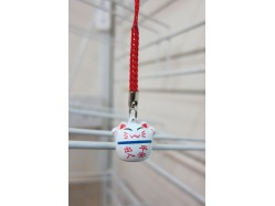 Lucky Cat Bag Charm Blue Line