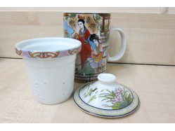Bao Yu & Dai Yu Lady Fishing Mug with Tea Strainer and Lid