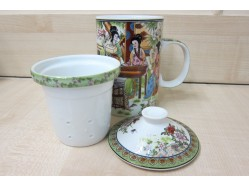 Ladies in Garden Mug with Tea Strainer and Lid
