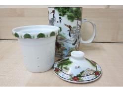 Dancing Cranes Mug with Tea Strainer and Lid
