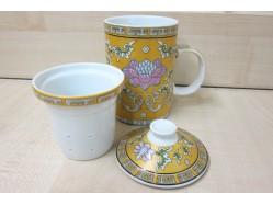 Lotus Flowers Mug with Tea Strainer and Lid
