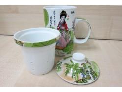 Xi Shi & Diao Chan Mug with Tea Strainer and Lid