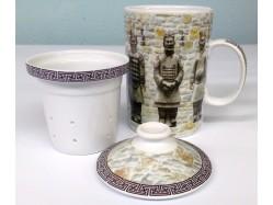Terracotta Warriors Mug with Tea Strainer and Lid