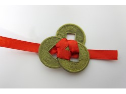 Three Lucky Chinese Coins tied with Red Ribbon