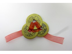 Three Lucky 'Antique' Brass Style Chinese Coins tied with Red Ribbon