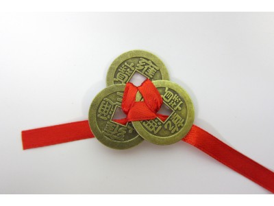 Three Lucky Chinese Coins tied with Red Ribbon 23mm