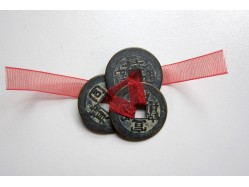 Three Lucky 'Old' Brass Style Chinese Coins tied with Red Ribbon