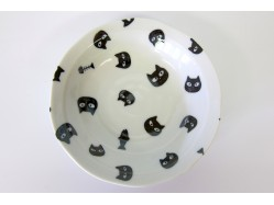 Cute Black and Cream White Cat Dish