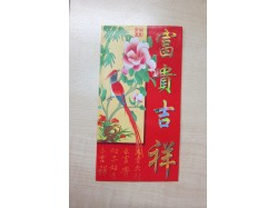 Packet of 6 Long Chinese Lucky Red Envelopes - Red Bird & Flower