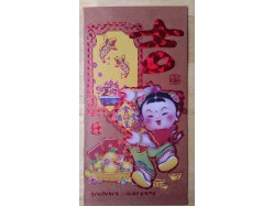 Packet of 6 Long Lucky Red Envelopes - Bronze Chinese Girl