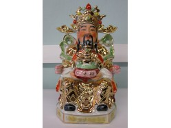 24k Gold Plated Ceramic Chinese God of Wealth 14in Tall
