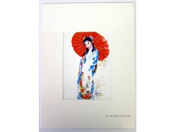 Oriental Lady with Red Parasol Mounted Postcard Print