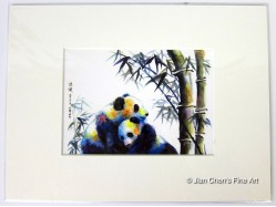 Giant Pandas Mounted Postcard Print