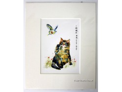 Cat & Butterfly Mounted Postcard Print