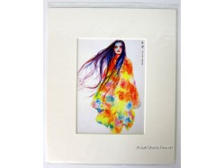 Lady with Long Hair Mounted Postcard Print
