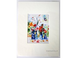 Flowers & Butterfly Mounted Postcard Print