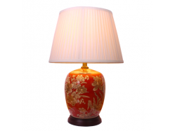 Chinese Melon Jar Red Gold Yellow Ceramic Porcelain Table Lamp Daffodils
