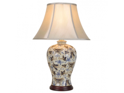 Chinese Porcelain Vase Table Lamp Blue Grey Butterflies