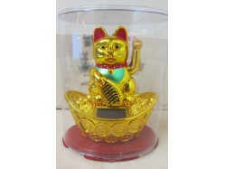 Gold Solar Powered Lucky Cat on Ingot