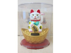 White Solar Powered Lucky Cat on Ingot