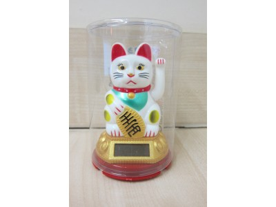 Small White Solar Powered Lucky Waving Cat