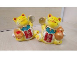 Pair of Yellow Gold Resin Lucky Cats