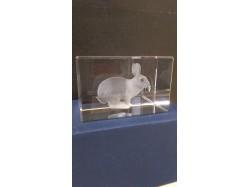 Laser Etched Crystal Block - Rabbit