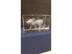 Laser Etched Crystal Block - Pig