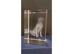 Laser Etched Crystal Block - Dog