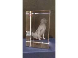 Laser Etched Crystal Block - Dog