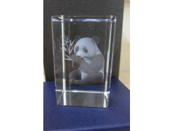 Laser Etched Crystal Block - Panda