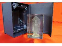 Laser Etched Crystal Block - Buddha with Halo