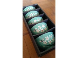 Turquoise Blossom Rice Bowl Set