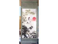 Chinese Cranes and Pines Scroll