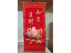 Chinese Red and Gold Laughing Buddha Scroll