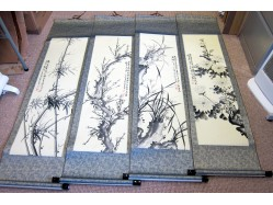 Set of Four Scrolls with Floral Designs