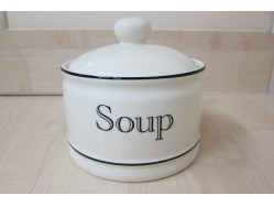 Cream Kitchen Soup Bowl with Lid