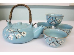 Chinese Duck Egg Blue Tea Set with Flat Tea Pot
