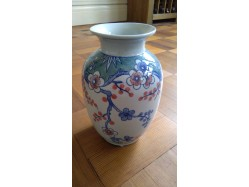 """Oriental Chinese Porcelain Vase Weeping Plum Blossom 8"""" Tall"""