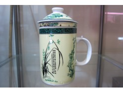 Bamboo Poetry Mug with Tea Strainer and Lid